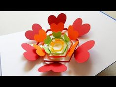 Pop up card (radiant hearts) - learn how to make a heart flower greeting card - EzyCraft - YouTube