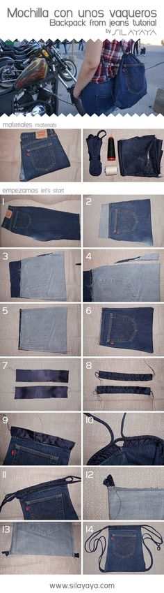 PLANB0-Tutorial mochila vaquera hecha con unos Levis. Backpack from jeans DIY #vaqueros