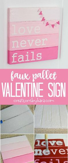 Faux Pallet Valentine's Day Sign - this fun DIY sign is perfect for your Valentines Day decor! #valentinedecor #valentines #pallet