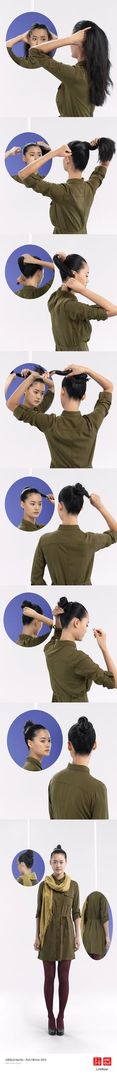 """THE LILY KNOT"" : Ideal for many occasions, this bun works well with our silk dress and scarf. Click on the image to check DIY instructions! #Bun #Hair #Hairstyle #DIY #UNIQLO #HairDo"