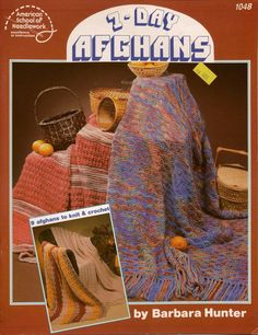 ASN 1048 7-Day Afghans Knitting Crochet 9 Patterns Ripple Shell Drop Stitch 1986 #AmericanSchoolofNeedlework #KnittingCrochetPatterns