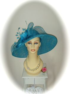 NWT G/Snoxell Statement Hat, Azul Blue Sinamay, Races Ladies Day Weddings Formal