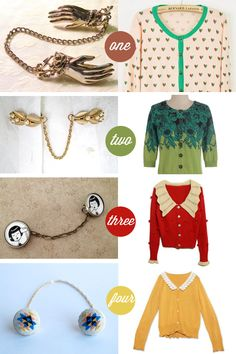 Oh So Lovely Vintage: cardigans & sweater clips. I am officially in love with sweater clips!