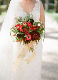 regal red bouquet by Bee's Wedding and Event Floral Designs Gold Bouquet, Bride Bouquets, Ribbon Bouquet, Floral Bouquets, Winter Wedding Inspiration, Wedding Photography Inspiration, Wedding Ideas, Wedding Stuff, Bouquet Photography