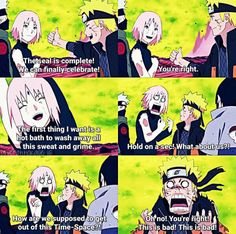 They all almost died and yet they still have that 'hyper' behavior. (hyperish in Sakura's case cuz there's no way she can reach Naruto level of hyper... it's... an Uzumaki thing... ) And then we have Kakashi and Sasuke watching from the sidelines.