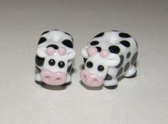 Moo Cows, Pair Lampwork Beads,  Simply Lampwork Nancy Gant SRA G55