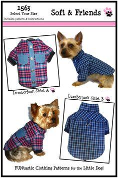 1563 Lumberjack Dog Shirt Pattern for the Little Dog $8.25