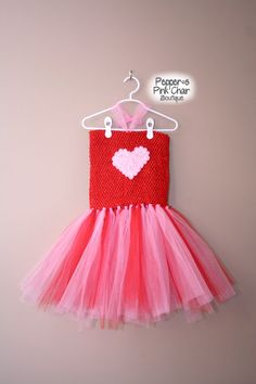 Girls Valentines Day Pink and Red Tutu by PeppersPinkChair on Etsy