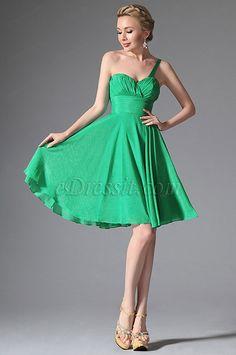 Einfach Ein Träger Grün Cocktail Klied Party Kleid