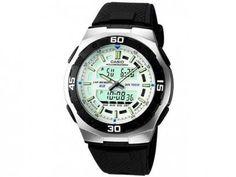 Relógio Masculino Casio Mundial AQ-164W-7AVD - Anadigi com Cronógrafo Calendário e Alarme