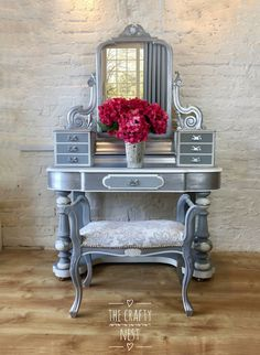 Duchess Victorian Dressing table painted French Grey, Chalk Grey and Silver complete with vintage stool, silver painted furniture, french grey painted dressing table Decor, Furniture, Shabby Chic Dresser, Silver Painted Furniture, Home Decor, Dressing Table With Stool, Furniture Rehab, Vintage Furniture, Shabby Chic Furniture