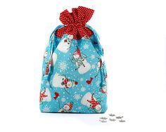 Snowman Drawstring Bag, Christmas Gift Bag, Drawstring Pouch, Blue, White and Red pouch #clutch #Christmasgift