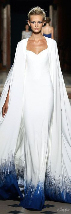 Tony Ward Fall 2015 Couture - wedding dress, bridal gown, long sleeves cape, sweetheart neckline, something blue