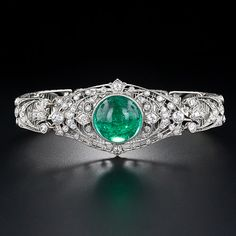 Exceptional Edwardian Cabochon Emerald and Diamond Bracelet - 40-1-1142 - Lang Antiques