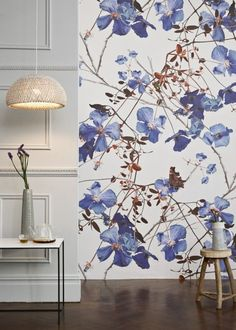 'Clematis Powder Blue' Wallpaper Mural from the Michael Angove collection. Art Deco, Art Nouveau, Chinoiserie, South Shore Decorating, Window Films, Bathroom Trends, Bathroom Inspo, Blue Wallpapers, Shop Interiors