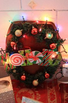 #5 - Wooden lighted toilet seat wreath