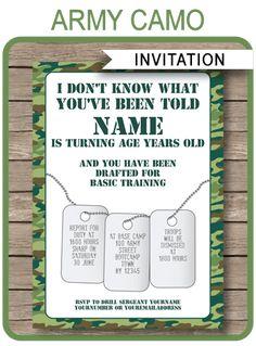 army party invitation template green camo