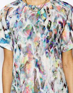 Image 3 ofTextile Federation Boyfriend Tshirt in Lucid Liquid Print