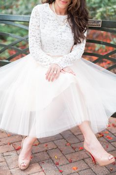 bridal shower outfit inspiration, midi skirt, tulle skirt, lace top, modest outfit, Space 46