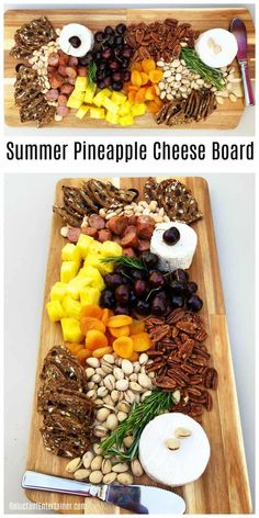 Summer Pineapple Cheese Charcuterie Board Recipe #ReluctantEntertainer #pineapple #summerentertaining #charcuterie #cheese #appetizers