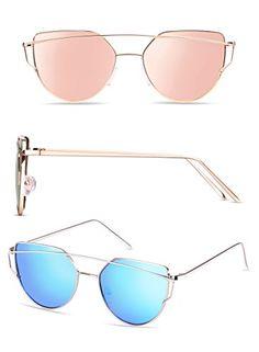 1c8d769b37c Elimoons Cat Eye Sunglasses 2 Pack Women Mirrored Lenses Metal Frame UV 400  Fashion Glasses - WomenGlee.com