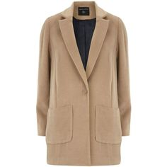 Dorothy Perkins Brushed Patch Pocket Coat (£35) ❤ liked on Polyvore featuring outerwear, coats, jackets, coats & jackets, brown, clearance, camel coat, brown coat, long sleeve coat and dorothy perkins