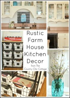Get great rustic kitchen decor ideas here -- ideas on storage, decor and more all with a rustic twist! #rustickitchens