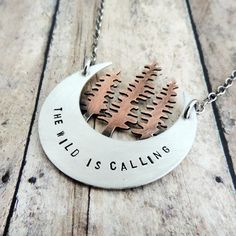 The Wild is Calling Crescent Moon Pine Trees Necklace