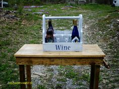 Wine tote made from used wood