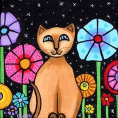 Siamese Cat PRINT by Shelagh Duffett by AliceinParis on Etsy