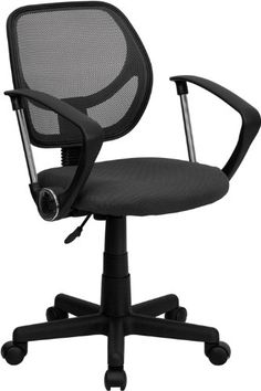 Flash Furniture Mid Back Gray Mesh Task Chair And Computer Chair With Arms