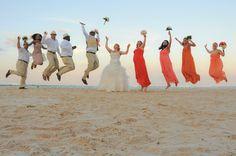 Beach wedding, sunset theme wedding, orange, coral, sunset wedding