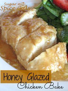 Honey Glazed Chicken Bake on MyRecipeMagic.com from the Sugar N Spice Gals will be a family favorite! #chicken #honey #glazed