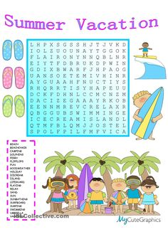 Summer Vacation Wordsearch More