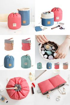 [Visit to Buy] 2017 High Capacity Storage Bags Nylon Barrel Bag Tie Laundry Cosmetic Makeup Organizer Travel Bag #Advertisement