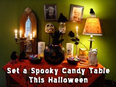 Hi Halloween is coming! Vintage Halloween Decorations to find great house decorating ideas, design advice and get inspired. Halloween Tablecloth, Vintage Halloween Decorations, Halloween Home Decor, Halloween Diy, Happy Halloween, Halloween Fireplace, Fireplace Mantel, Halloween Costumes, Diy Christmas Ornaments