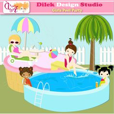 Girls Pool Party - perfect clipart for web design, scrapbooking, invitations and more.