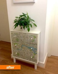 Before & After: Chest Goes On A Strict Diet   Apartment Therapy Diy Garden Furniture, Repurposed Furniture, Shabby Chic Furniture, Furniture Projects, Furniture Makeover, Painted Furniture, Furniture Design, Redoing Furniture, Dresser Makeovers