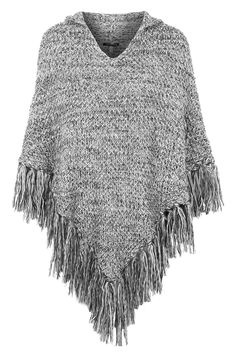 Knitted Hooded Tassel Poncho