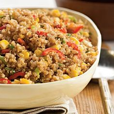 Toasted Quinoa with Chiles and Corn: If you like a side dish with some bite to it, this one has jalapeño peppers for a spicy kick. Each serving packs 9 grams of slimming protein and 4 grams of fiber, while reduced-salt chicken broth and no-salt-added canned corn keep sodium in check. Get the recipe | Health.com