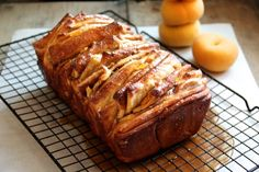 Caramelized Peach Pull Apart Bread by alaskafromscratch.com