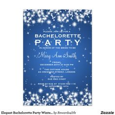 Elegant Bachelorette Party Winter Sparkle Blue