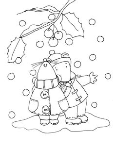 ■ Dearie Dolls... free Dearie Dolls digi stamp of two mice standing beneath an branch of holly and berries as snow falls gently to the ground around them