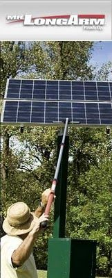 Solar-panel cleaning a gleam in eyes of window cleaners.