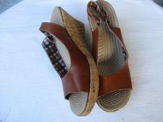Crocs women sandals 7 Brown Leather wedge #Crocs #PlatformsWedges #Casual