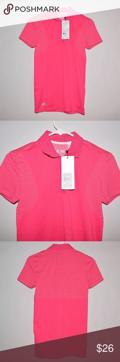 Adidas Seamless Athletic Performance Polo Shirt Brand: Adidas Item name: Seamless Athletic Performance Polo Shirt Color: Pink Condition: New w/ tags/ Measurements: Pit to Pit - 14.5 inches Neckline to bottom - 25 inches adidas Tops
