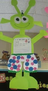 We love the book, Aliens Love Underpants!  We made aliens and wrote about what we would do if an alien came to visit.