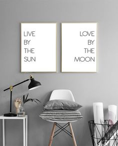 Live by the sun Love by the moon, Set of two prints, above bed art, Printable gallery art, double poster, prints set, gallery art, download