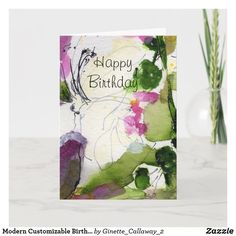 Modern Customizable Birthday Card Watercolor Watercolor Paper, Watercolor Paintings, Birthday Gift Cards, Custom Greeting Cards, Plant Design, Wedding Color Schemes, Thoughtful Gifts, Yellow Flowers, Original Art