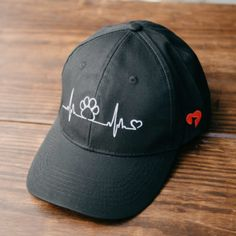 Heartbeat Paw Embroidered Canvas Hat
